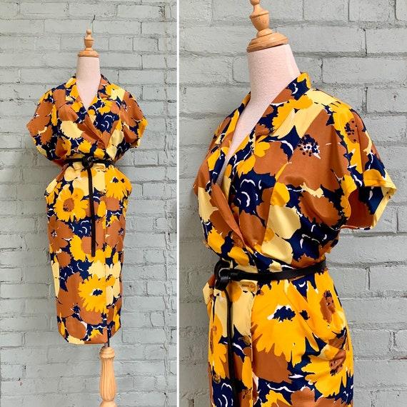 vintage 1980s floral midi dress / 80s wrap sheath