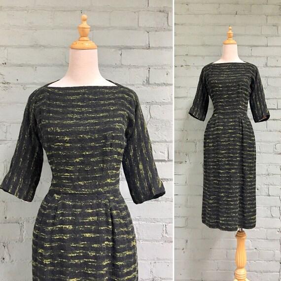 vintage 1950s knit wiggle dress / 50s dinner cockt