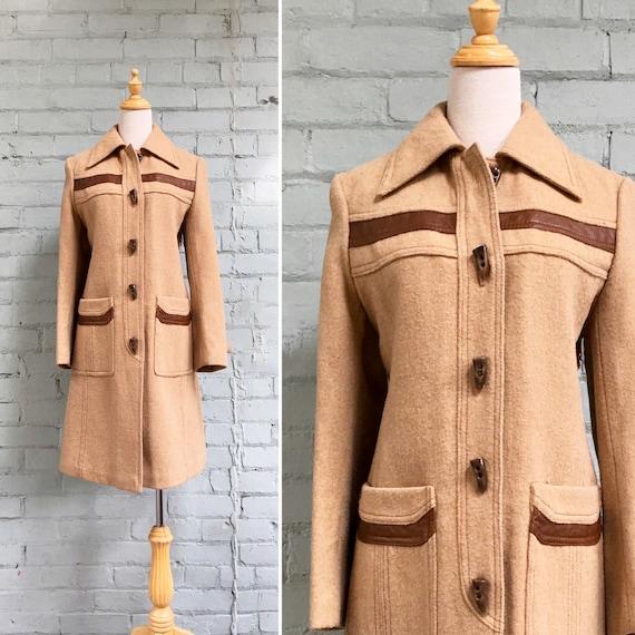 vintage 1970s duffel coat / 70s toggle coat / boho