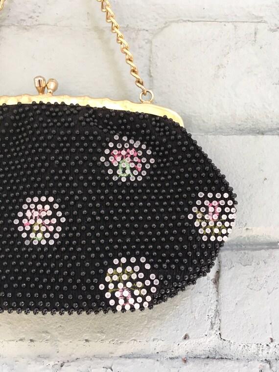 vintage 1960s beaded bag / 1960s black beaded clu… - image 2