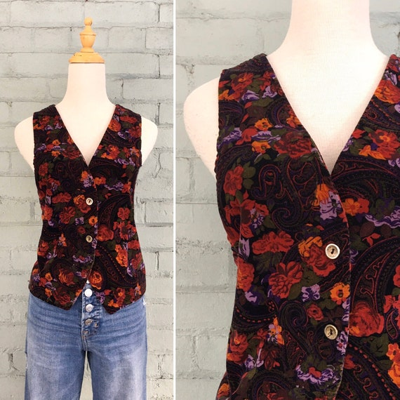 Vintage 1980s floral velvet vest / 80s paisley ves