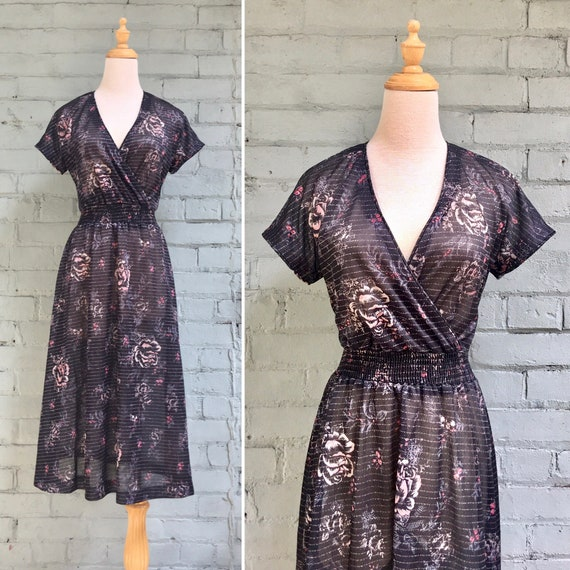 vintage 70s floral wrap dress / 1970s sheer metall