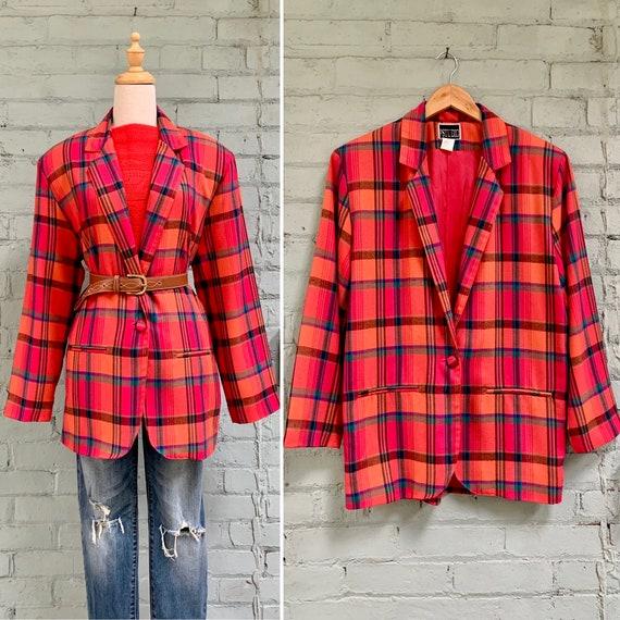 vintage 1980s plaid oversized blazer / 80s preppy