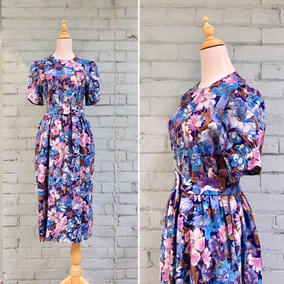 vintage 1980s floral midi dress / 80s party cottag