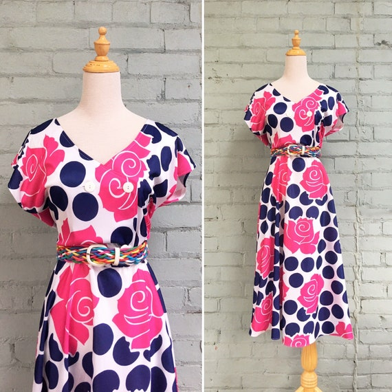 vintage 1980s floral midi day dress / 80s fit and