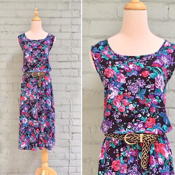 640675a836c5 Vintage 80s floral dress / 1980s midi dress / belted | Etsy