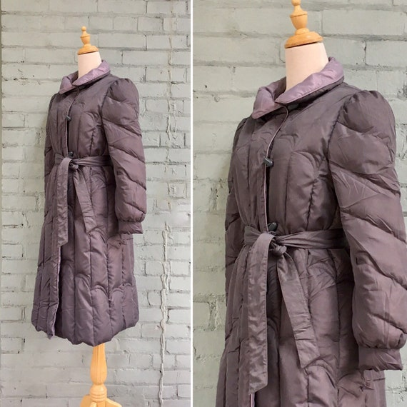vintage 1980s long down coat / 80s quilted parka /