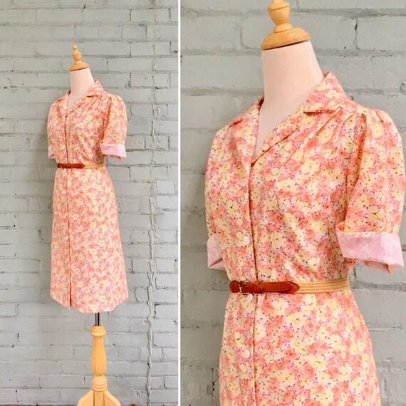 vintage 1960s floral midi dress / 60s day dress /