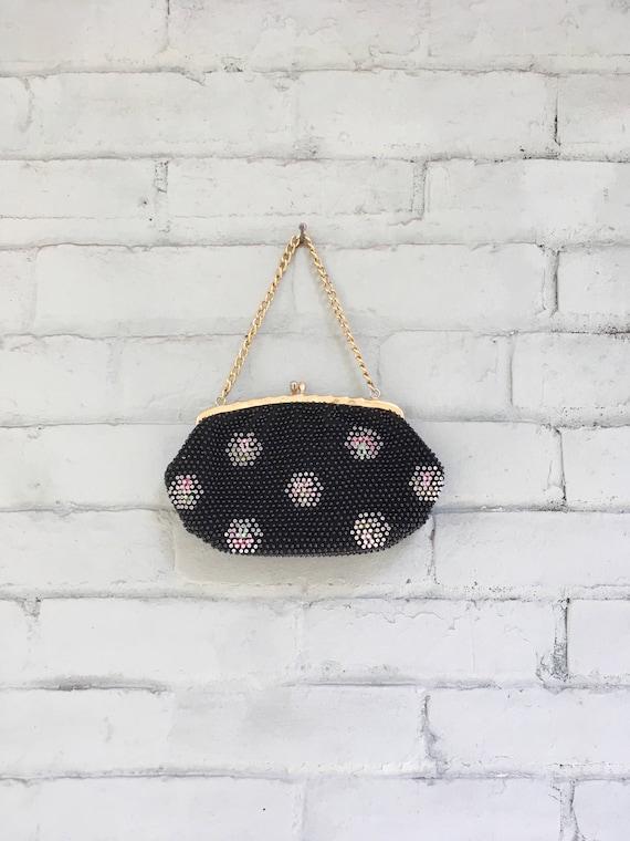 vintage 1960s beaded purse / 1960s black beaded cl