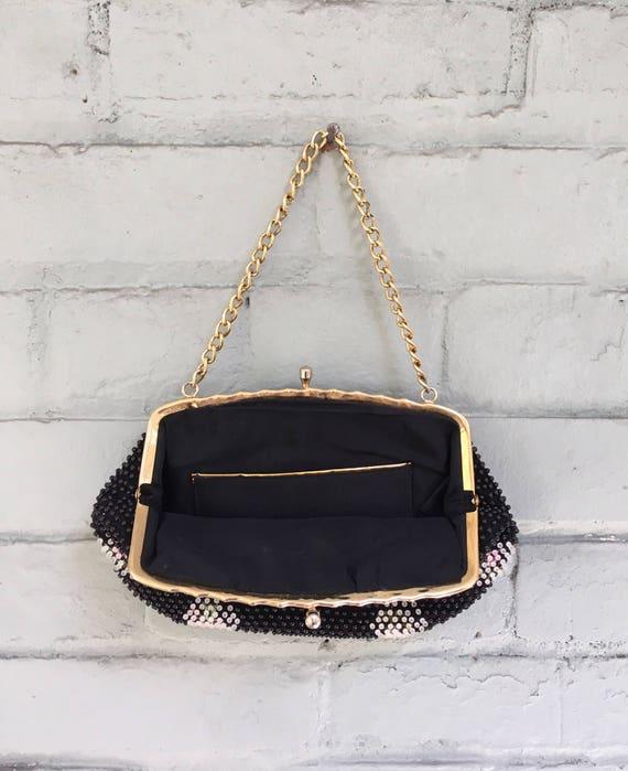 vintage 1960s beaded bag / 1960s black beaded clu… - image 5