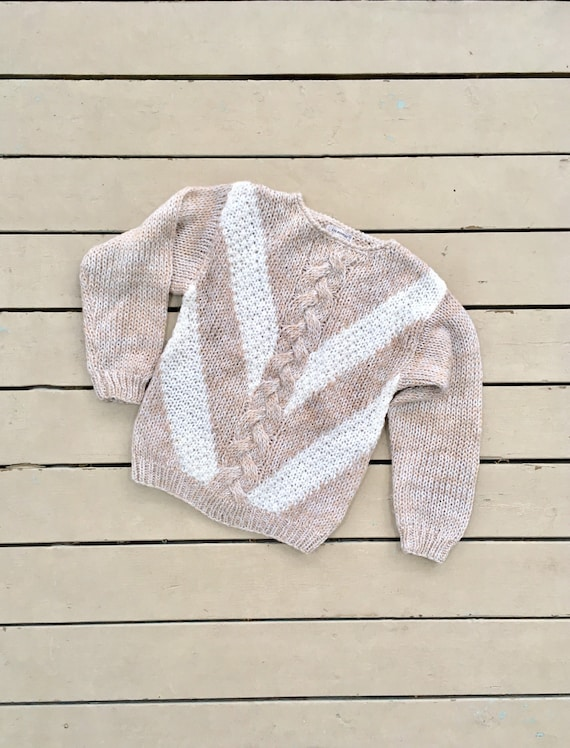 vintage 1980s cable knit sweater / 80s wool sweate
