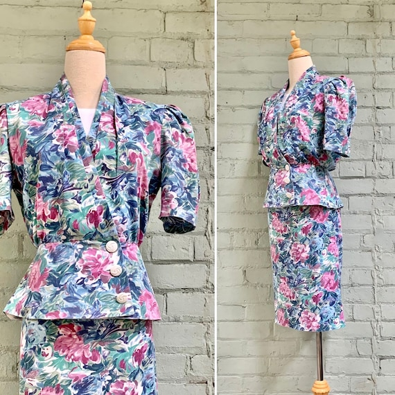 vintage 1980s floral suit / 80s shirt sleeve summe