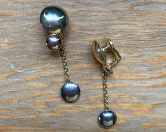 Authentic Cartier Tri-Color 18K 3 Disc Dangle Earrings / Cartier Dangle Earrings / 18K Cartier Dangle Earrings / Cartier Jewelry / Gold