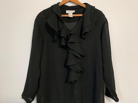 90s Sheer Black Ruffled Blouse  / Black Sheer Blou