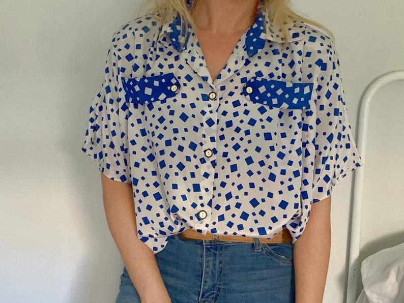 Vintage Silky Blouse by Rose  80s Blouse  Vintage Blue Blouse  Vintage Blouse  Vintage Silky Blouse  Shoulder Pads Blouse  XL Blouse