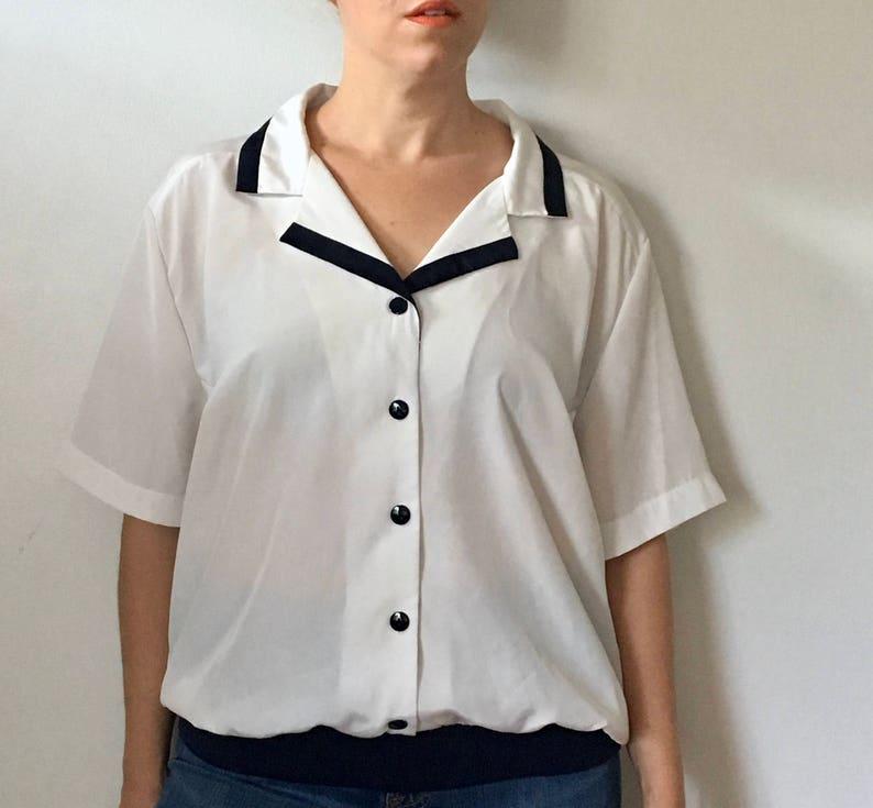 SALE  Lauren Lee Sailor Blouse  Nautical Shirt  80s Blouse  Womens Blouses  Vintage 80s Blouse  White Blouse  Sailor Shirt