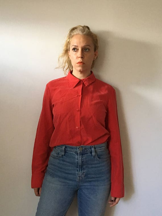 Sale Vintage Red Silky Button Down Shirt 90s Clothing Etsy