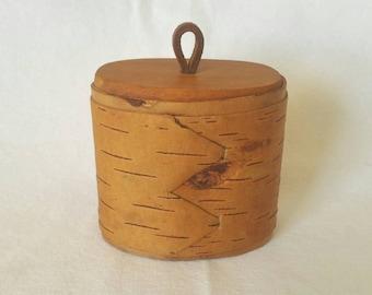 Vintage Handmade Birch Bark Trinket Box // Folk Art // Sweden