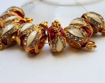 d6a3c02fb Royal Crown Pandora Style Bead Charm- Deep Red, Cream and Gold Colors with  Clear Crystal Rhinestone Accents- 5 pcs