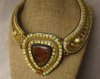 Brown agate beadwork necklace - geometrical necklace - seed beaded statement necklace - yellow and brown bead embroidery bib necklace