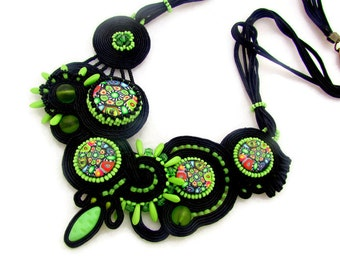 Soutache necklace - soutache jewelry - bead embroidery necklace - OOAK - black multicolor necklace - shabby chic necklace - La Prima Vera