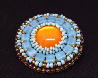 Beaded brooch, Bead embroidery brooch, Light blue and orange round brooch, seed beaded brooch, beadwork brooch for every day wear