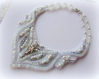 Bead embroidery white bib wedding jewelry statement necklace OOAK hand beaded and embroidered seed bead bridal necklace