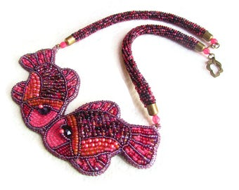 Whimsical fish and Pisces necklace - zodiac necklace - purple beadwork necklace - seed bead crotchet necklace - bead embroidery necklace