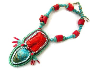 Cowboy horse necklace, hand beaded bead embroidery artisan necklace, beadwork necklace, chunky coral and turquoise necklace
