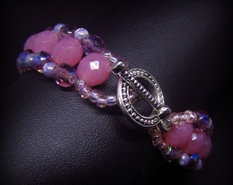Purple pink beadwork bracelet, beaded bracelet, Czech glass beads bracelet for her