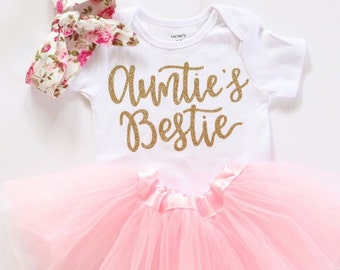 f732fd19b Aunties Bestie outfit Baby girl clothes aunties bestie Shirt mamas mini  outfit gold glitter bodysuit baby girl bodysuit