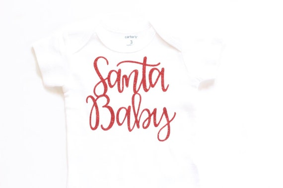 0897953b848dc Santa Baby red Glitter Christmas Girls Onesie girls christmas | Etsy