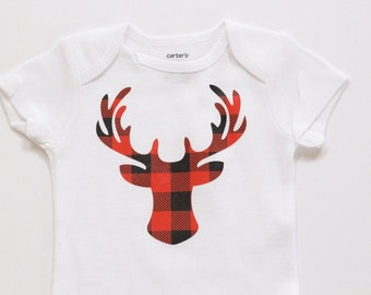 Red Buffalo Plaid Deer Head Boys onesie, boys christmas shirt, baby Christmas shirt