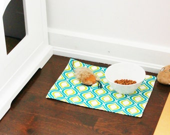 Large Dog and Cat Placemat, Easy care food Mat for pets, Fabric Placemats, Pet Gifts, Unique Design and Colorful!