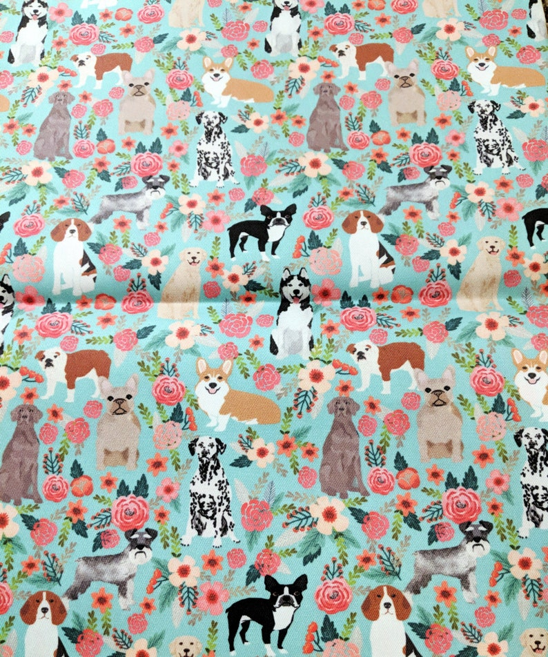 Multi Dogs on Floral Blue Small Pouch