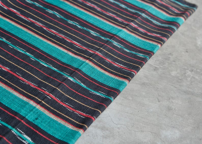 sold by yard Striped Fabric from Guatemala #12 Handloomed Textile - 100/% Cotton