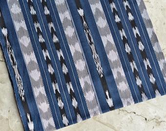 Ikat Fabric (#126) - Ethnic Fabric from Guatemala - Cotton Fabric by Yard - Indigo Blue