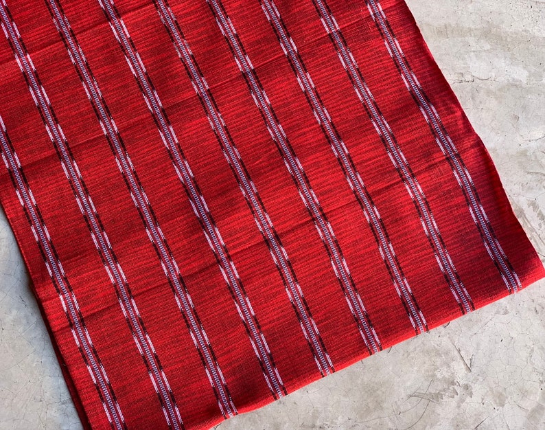- 100/% Cotton Power Sign Textile Supply Strong Vibes Handwoven on Foot Loom #139 Handcraft Guatemala Scarlet Red Facric NEW