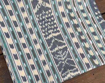 JP19 (THICK) 100% Cotton - Piece of Art - Perfect for upholstery - mid/heavy weight - Blue and White Ikat Handwoven from Guatemala