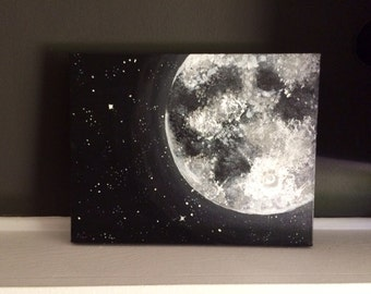 Orange Moon and Stars Acrylic Painting 11x14 inches Home