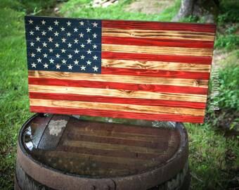 Rustic American Flag Wood Flag