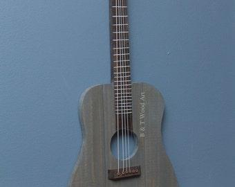 Wood guitar wall art  Guitar strings