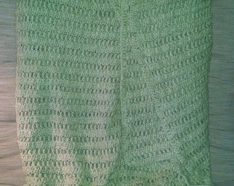 PRICE DROP! Winter Green Crochet Handmade Blanket. Fits Queen Bed