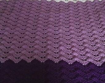 Orchid Blanket for Twin bed. Crochet Handmade Purple blanket