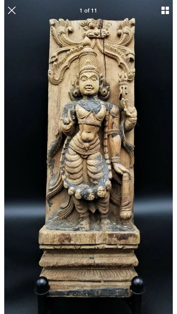 Hindu God Shiva Wooden Temple Wall Panel Siva Natraj Vintage Sculpture Home Art