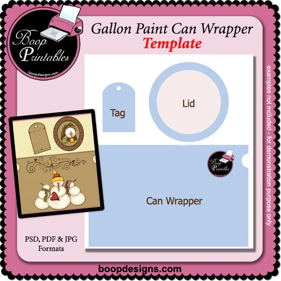 Gallon Paint Can Set Printable Craft TEMPLATE By Boop Etsy