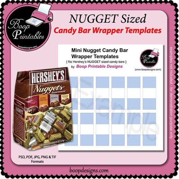Nugget Mini Candy Bar Wraps Gift Or Party Favor Template By Etsy