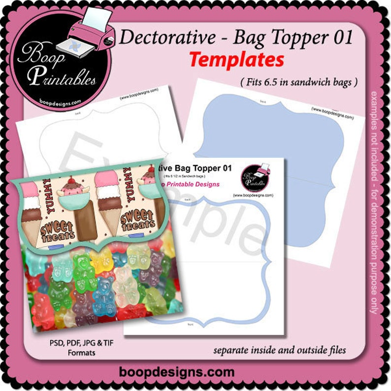 Decorative Bag Topper 01 Gift or Party Favor TEMPLATE by Boop Printables
