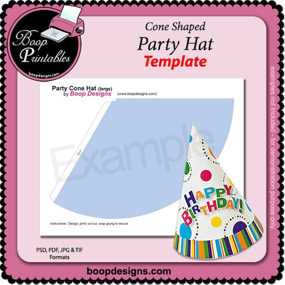 child party hat cone shaped gift or party favor template etsy