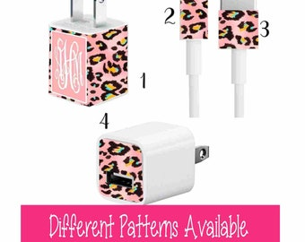 Personalized charger sticker Charger wrap for iPhones Monogram charger decal Cell phone Charger decal Monogram charger wrap for iPhone